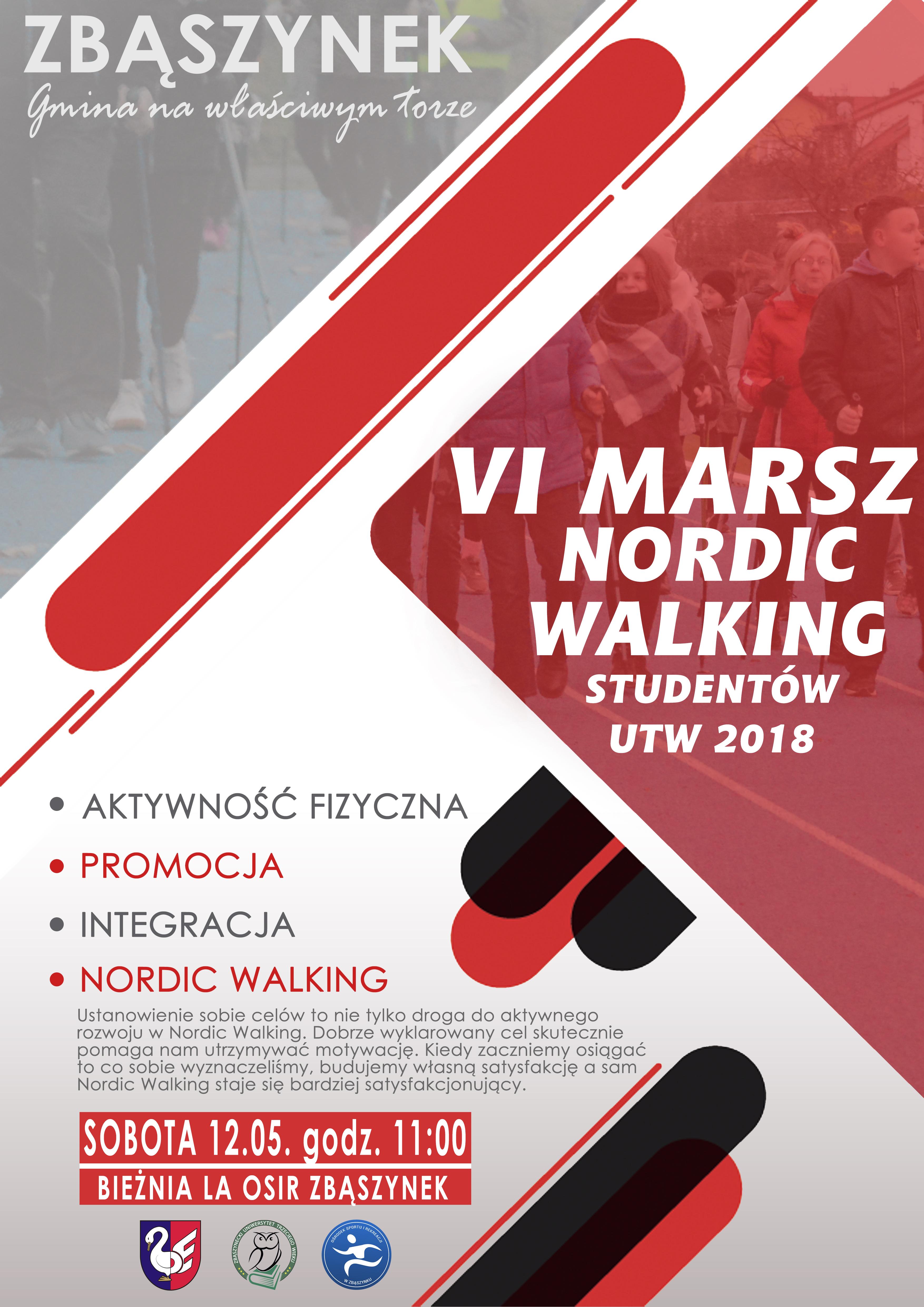 Ilustracja do informacji: VI MARSZ NORDIC WALKING STUDENTÓW UTW 2018