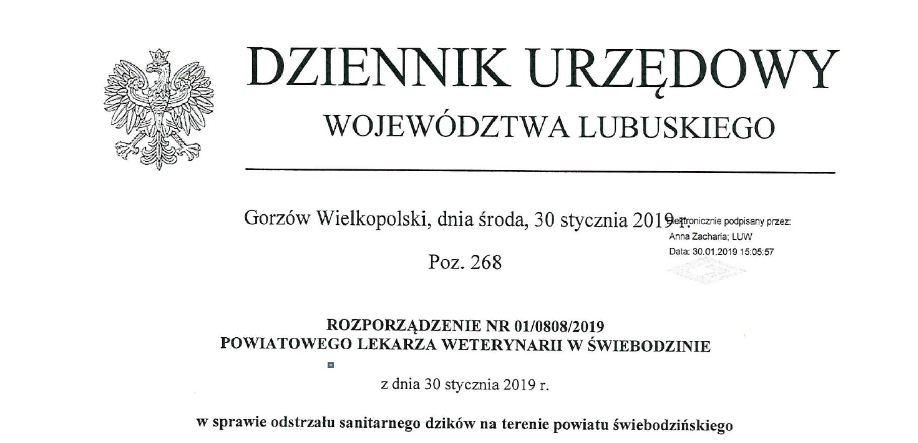 Ilustracja do informacji: Rozporządzenie nr 01/0808/2019 Powiatowego Lekarza Weterynarii w Świebodzinie z dnia 30 stycznia 2019 r. w sprawie odstrzału sanitarnego dzików na terenie powiatu świebodzińskiego.