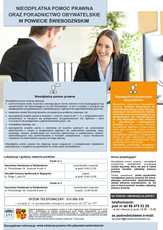 Ilustracja do informacji: Nieodpłatna pomoc prawna i poradnictwo obywatelskie - powiat świebodziński.