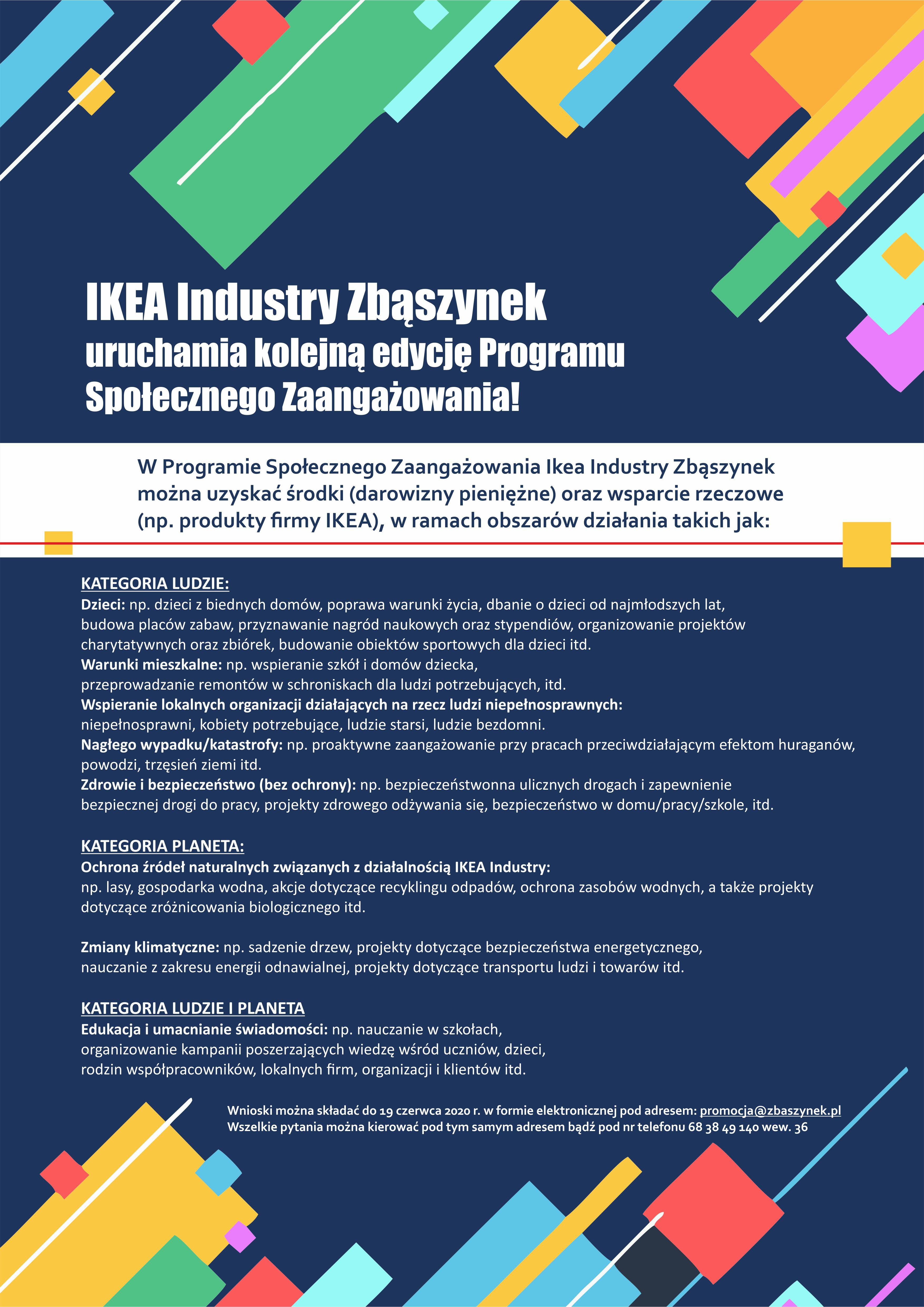 Ilustracja do informacji: IKEA Industry Zbąszynek uruchamia kolejną edycję Programu Społecznego Zaangażowania!
