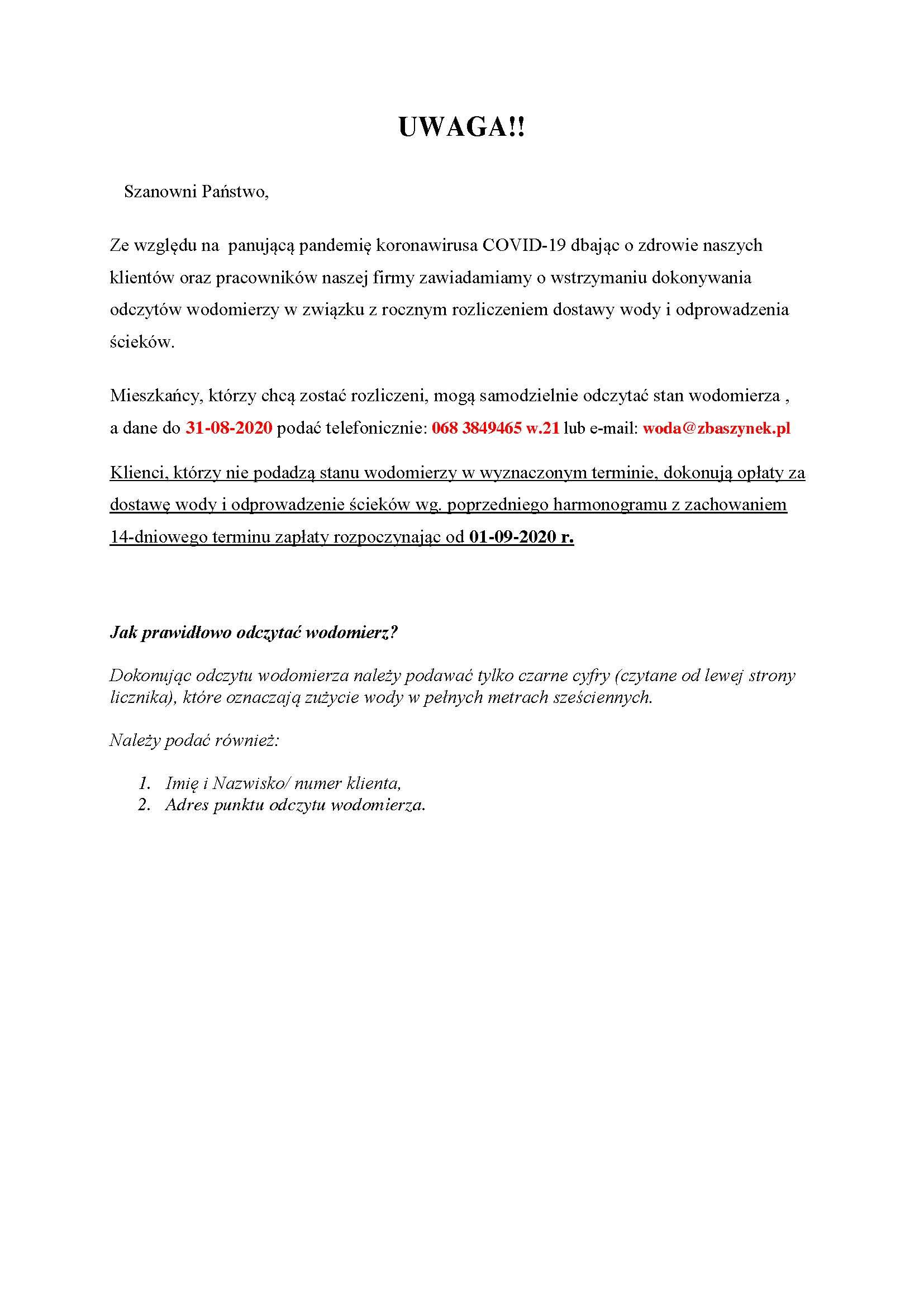 Ilustracja do informacji: Komunikat - odczyty wodomierzy