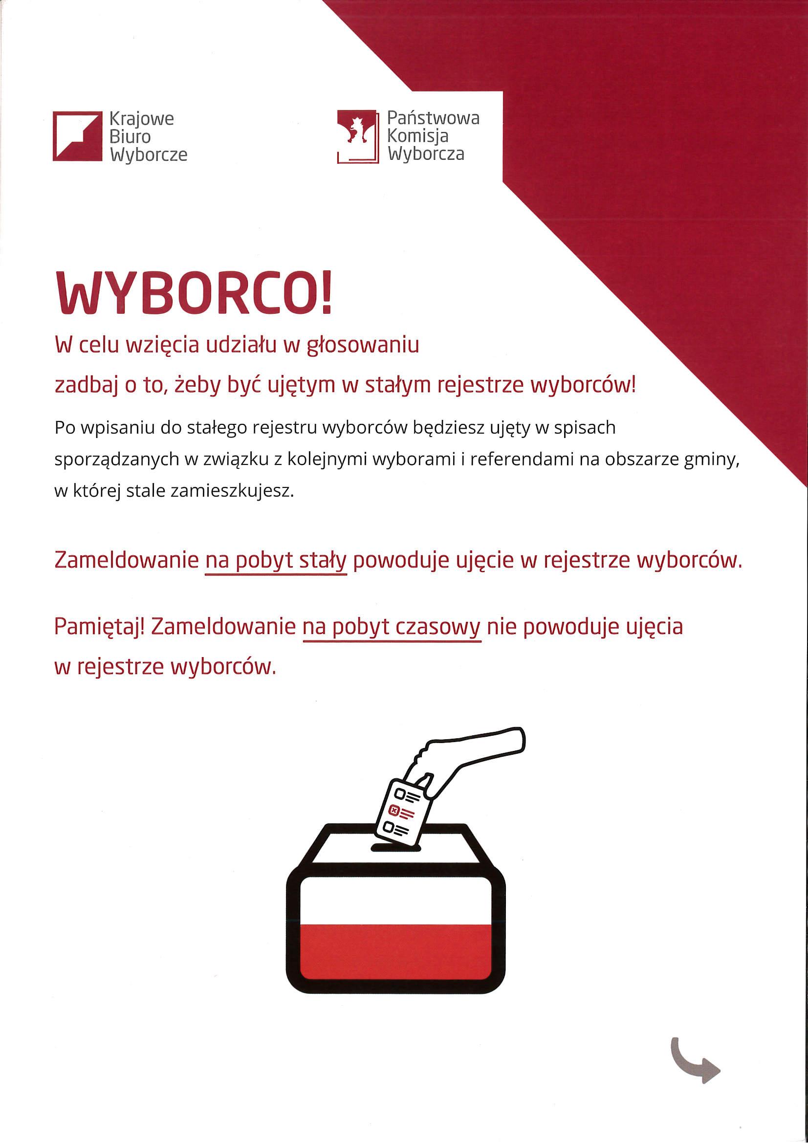 Ilustracja do informacji: WYBORCO! W celu wzięcia udziału w głosowaniu zadbaj o to, żeby być ujętym w stałym rejestrze wyborców!